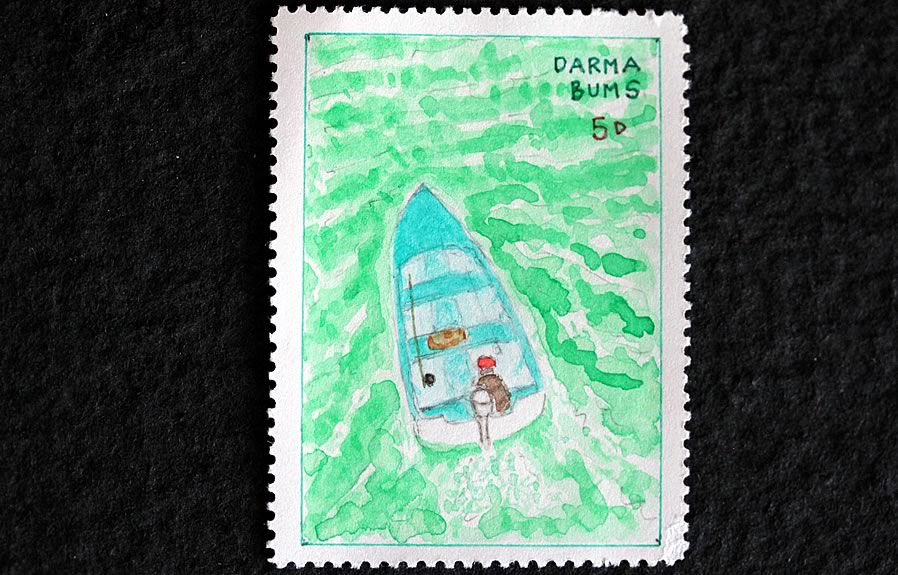 Dharma Buns boat by bruce bowden stamps