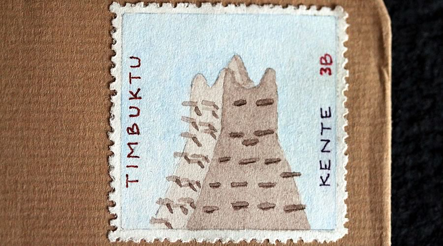 Kente mud mosque stamp by bruce bowden