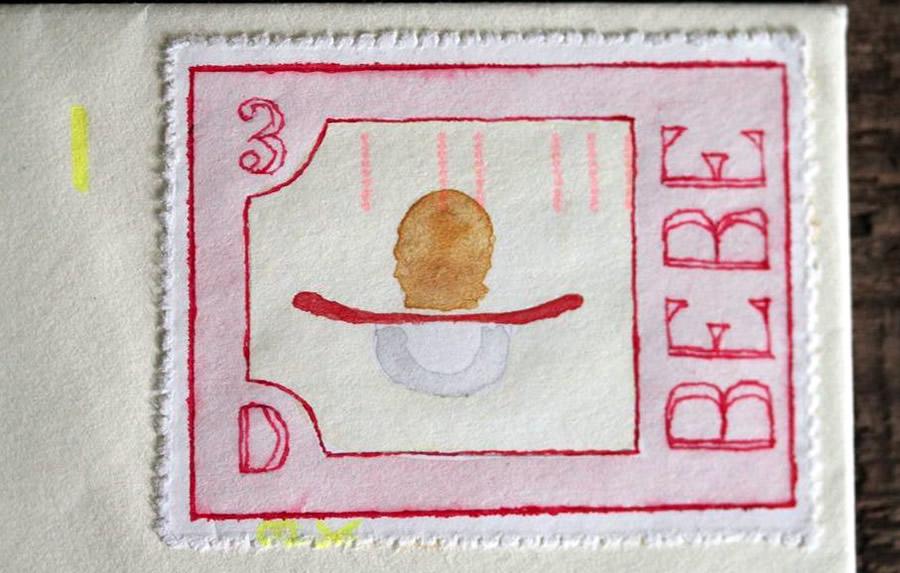 Bebe - Pacifier - Bruce Bowden stamp art