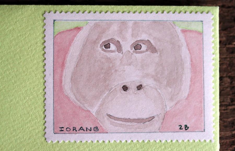 orangutan stamp by bruce bowden stamp art