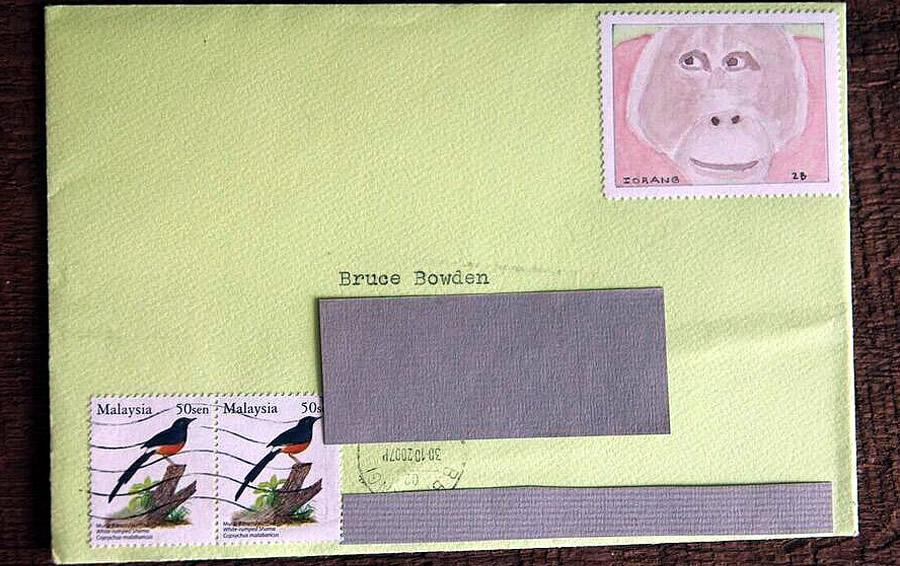 orangutan stamp by bruce bowden