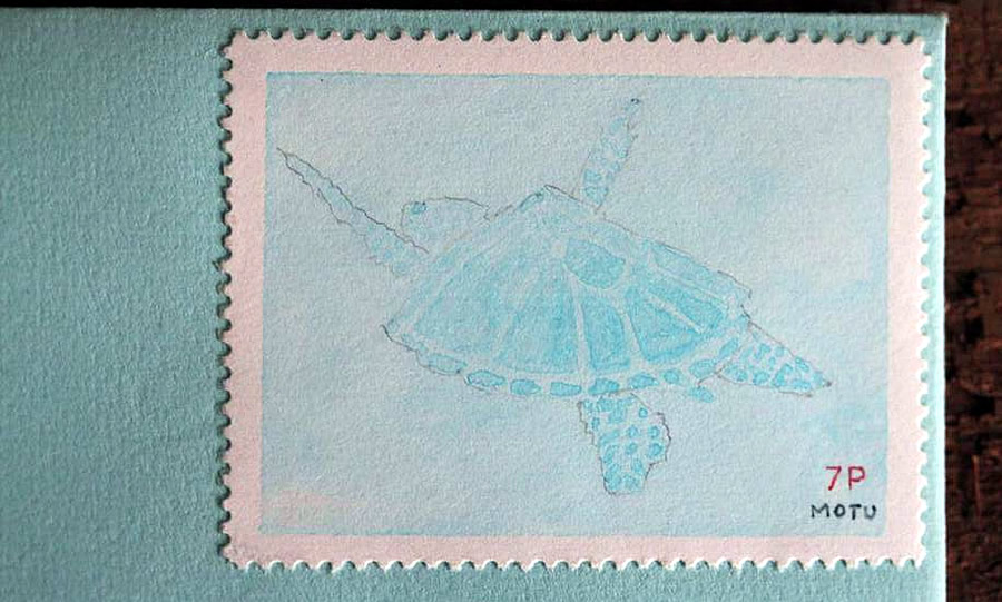 Motu Turtle stamp Bruce Bowden