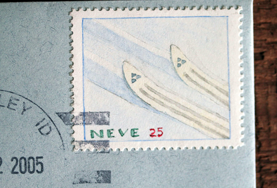 Neve - skis - stamp art bruce bowden